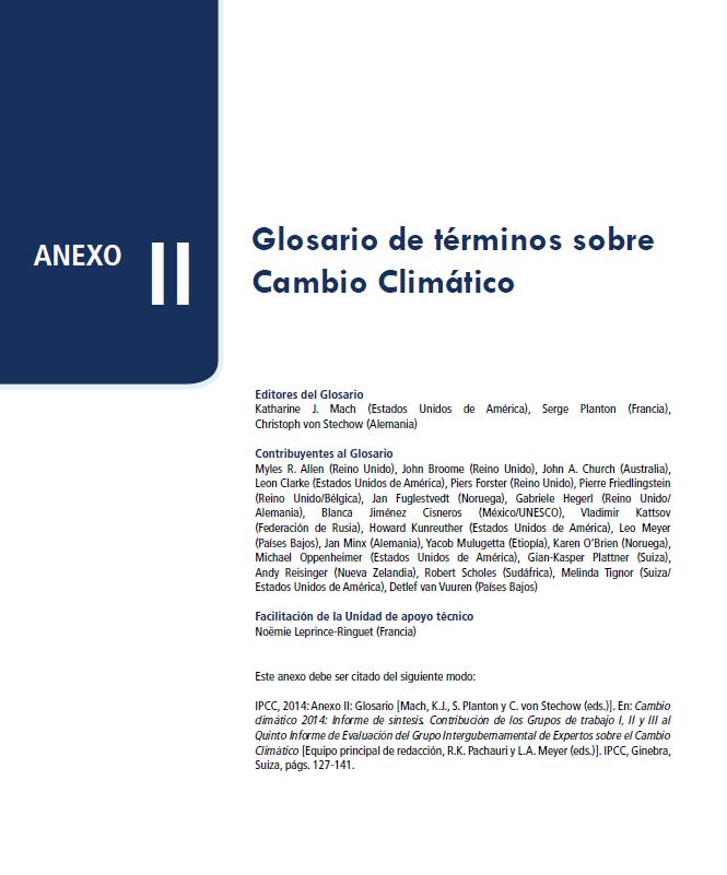 Glosario cambio climático español